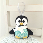 Christmas penguin, decoration, plush with a ribbon, teal, gender neutral