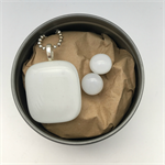 White Fused Glass Pendant and Earrings Set