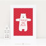 Bear Print, Nursery Art, love, Bear hugs, Baby Nursery decor, A4 Print