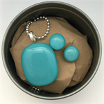 Turquoise Fused Glass Pendant and Earrings Set