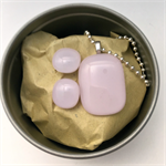 Pale Pink Fused Glass Pendant and Earrings Set