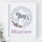 Personalized print - Pony in floral garland with personalized name.