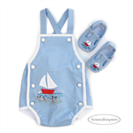 Romper and Shoes, NB 0000 Baby Boy,The Little Red Sailboat, applique embroidery