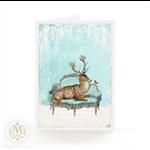 Christmas card, deer, reindeer, white Christmas, holiday card
