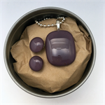 Purple Fused Glass Pendant and Earrings Set