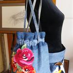 Embellished denim drawstring bucket bag