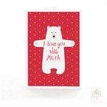 Bear card, Christmas card, i love you this much, bear hugs, holiday card