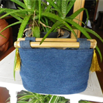 Denim bag with Bamboo Handles