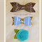 Hairclips - Bows & Rosette - Bluey/Green
