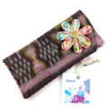 Glasses / sunnies case - lilac ikat fabric with detachable flower brooch