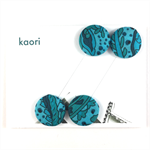 Pair of kimono fabric covered hair bands / ponytail elastic - turquoise paisley
