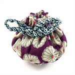 Handmade kimono fabric travel jewellery pouch or gift bag- purple floral