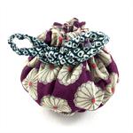Handmade kimono fabric travel jewellery pouch or gift bag- purple floral