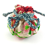 Handmade kimono fabric travel jewellery pouch or gift bag- red floral