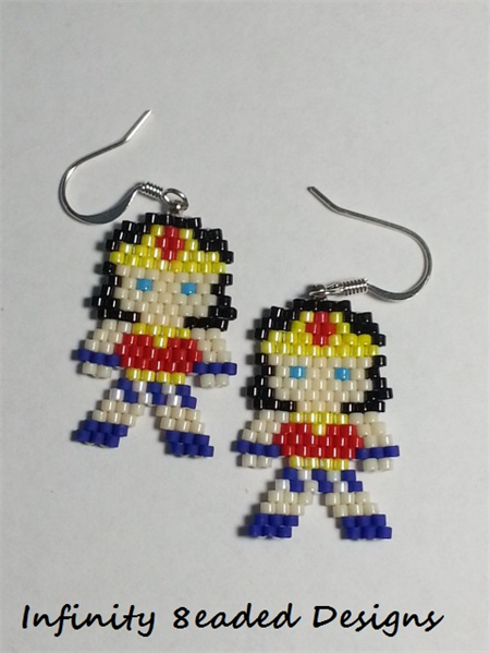Wonder Woman Beaded Earrings