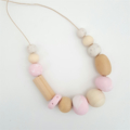 Handrolled polymer clay and wooden beaded necklace-pinks