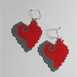 Valentines Heart Beaded Earrings