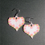 Flower in Heart Beaded Earrings