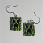 Minecraft Creeper Beaded Earrings
