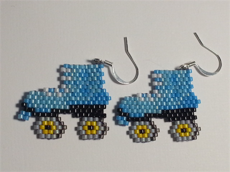 Roller Skates Beaded Earrings