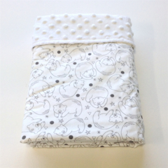 Modern Baby Blanket / Monochrome Sleeping Bears