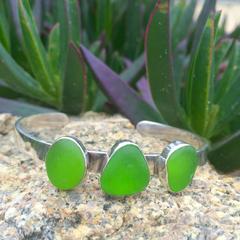 Green Sea Glass Cuff Bracelet