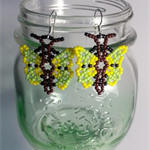 Green And Yellow Butterfly Beaded Earrings