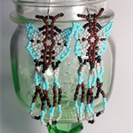 Aqua Butterfly Beaded Earrings