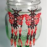 Red Butterfly Beaded Earrings