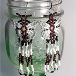 Black and White Butterfly Beaded Earrings