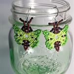 Green Butterfly Beaded Earrings