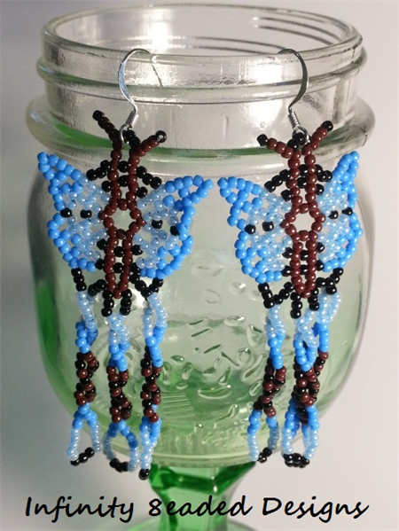 Blue Butterfly Beaded Earrings
