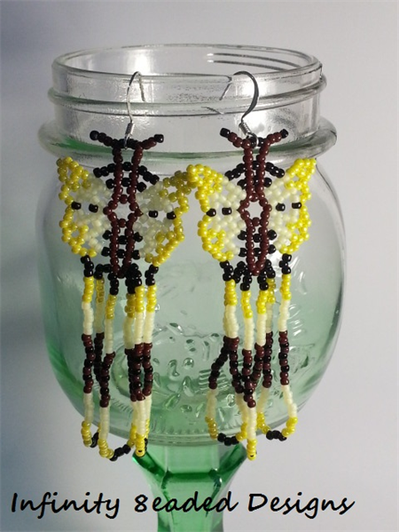 Yellow Butterfly Beaded Earrings