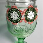 Christmas Flower Beaded Earrings
