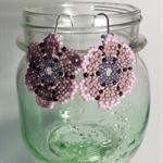 Purple Flower Beaded Earrings
