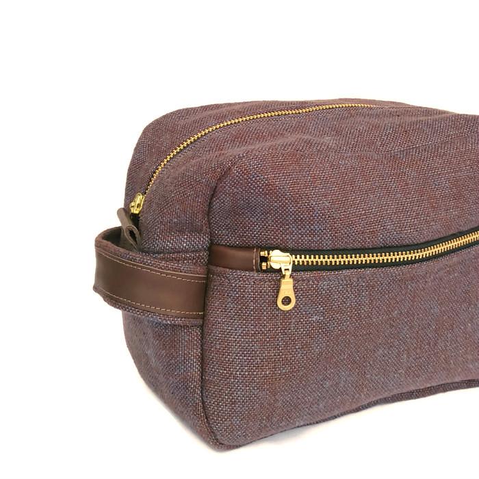 Mens Linen Toiletry Case Dopp Kit Shaving Bag Wash