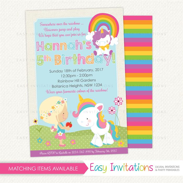 Rainbow Unicorn Girl Birthday Invitation Printable Easy
