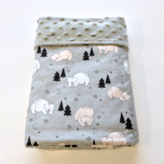 Modern Baby Blanket / Nap Time Bears - grey