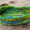 Crocheted basket made from silk and vintage rayon.  Multi-colour, small, oval