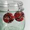 Red Flower Shell Earrings