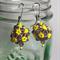 Purple Yellow Beaded Bead Earrings
