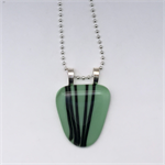 Mint Green Striped Fused Glass Pendant