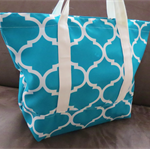 Teal Trellis Print Tote with pouch