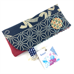 Glasses / sunnies case - kimono fabric with detachable flower brooch