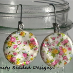 Flower Shell Disc Earrings