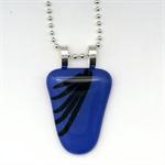 Cobolt Blue Striped Fused Glass Pendant