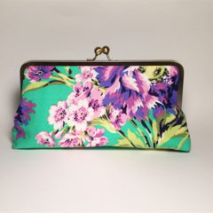 Purple peony large clutch purse