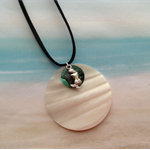 Mother of Pearl Mussel Shell Mermaid Charm Black Velvet Cord Pendant Necklace