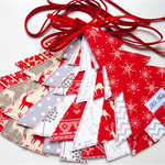 Nordic Christmas Tree Garland, Scandinavian Garland, Red White & Grey