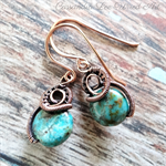 Solid Copper Wire Wrapped & Coiled African Turquoise Earrings